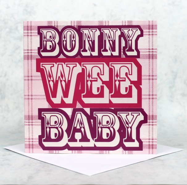 Scottish greeting cards bonny wee baby pink product image m4hsunfo
