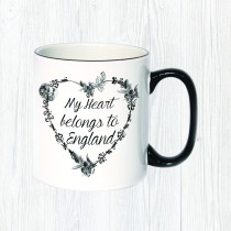 My Heart Belongs Black Handle Mug