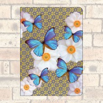 A5 Notebook-2 Round Corners-Blue Butterflies