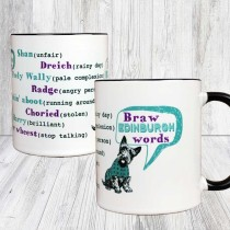 Braw Edinburgh Words Black Handle Mug