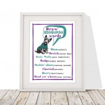 Braw Edinburgh Words White Linen Print