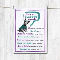 Braw Glasgow Words Tea Towel+Tag