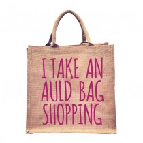 Auld Bag Natural Jute Shopper (pink)