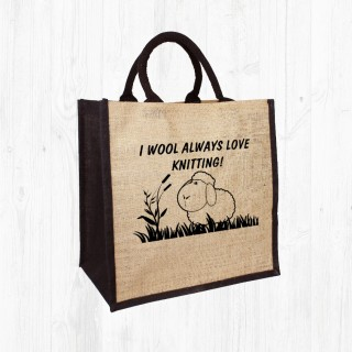 Always Love Knitting Jute Bag product image