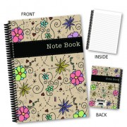Foral & Black Strip Notebook