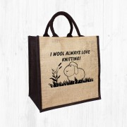 Always Love Knitting Jute Bag