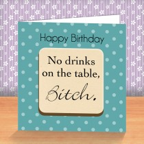 No Drinks Coaster Card