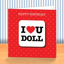 I Love U Doll Coaster Card