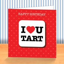 I Love U Tart Coaster Card