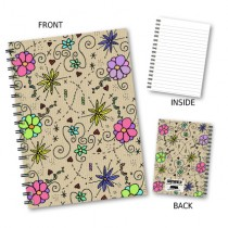 Coloured Floral Wiro Notebook