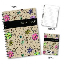 Foral & Black Strip Wiro Noteb