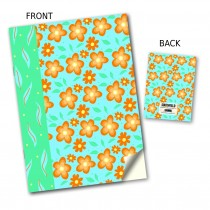 Orange & Blue Flower Stitched Notebook