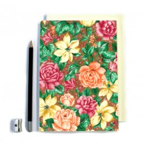 Orange Floral Stitched Notebook