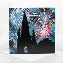 Tartan Edinburgh Fireworks Greeting Card