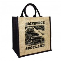Jute Black Handled Shopper Bags
