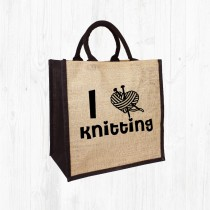 I Heart Knitting Jute Bag