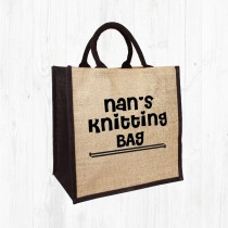 Nan's Knitting Jute Bag