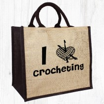 I Heart Crocheting Jute Bag