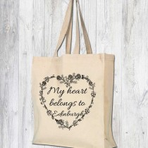My Heart Belongs Gusset Cotton Bag