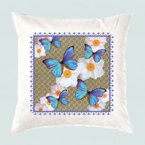 Cushion-Blue Butterflies +Tag