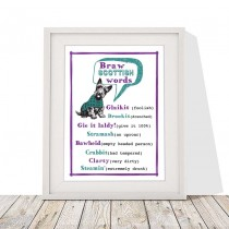 Braw S Words White Linen Print
