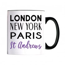 London NY Black Handle Mug