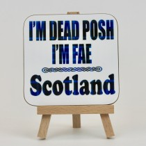 Coaster - Tartan Posh Blue Words