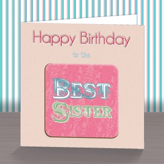 Best Sister Coaster Card product image