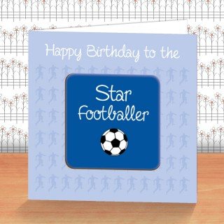 Blue Football Coaster Card product image