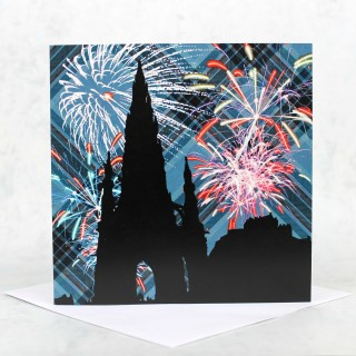 Tartan Fireworks Greeting Card product image